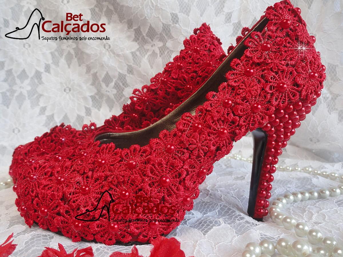 fede20f24 Sapato Rendado Noiva LUXO vermelho no Elo7 | Bet Calçados (5B3C99)