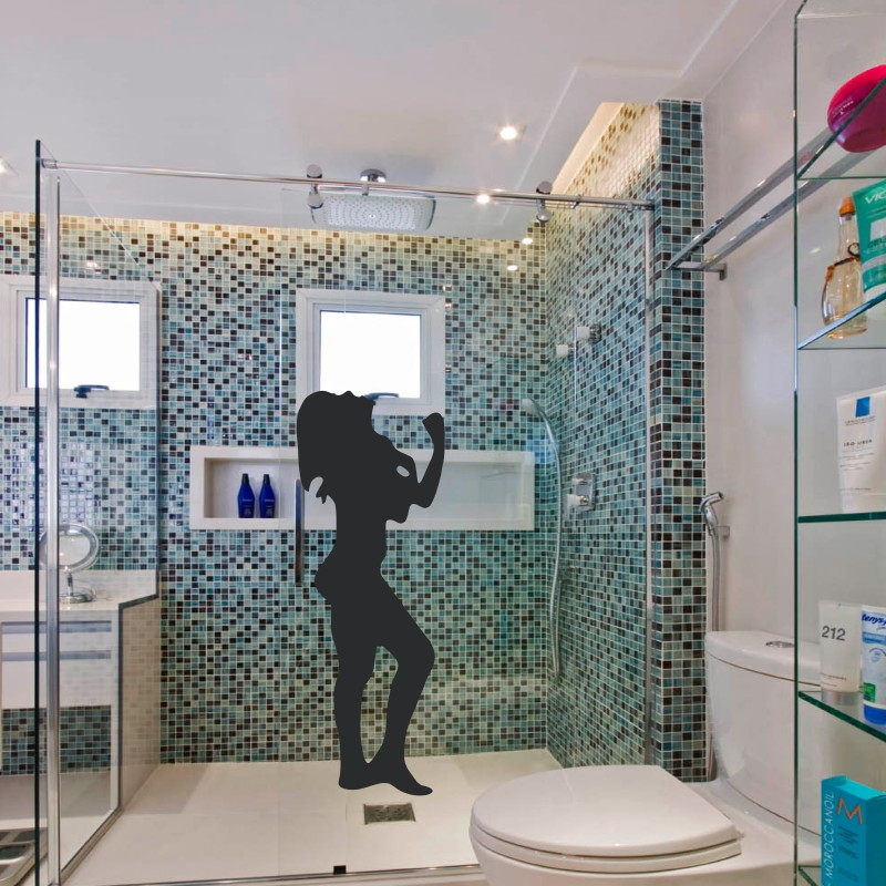 Adesivo Silhueta box banheiro  Adesivos com 3 anos de garantia  Elo7 -> Banheiro Pequeno Adesivo
