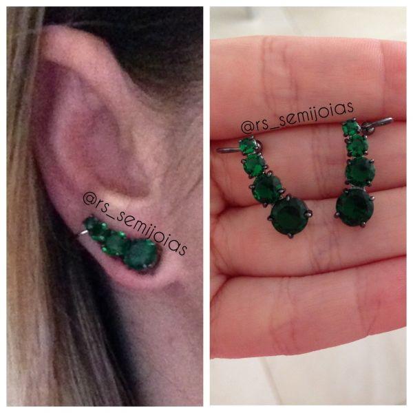 Brinco earcuff ptos Esmeralda no Elo7   RS semi jóias (5C192D) 052fdbd4f1
