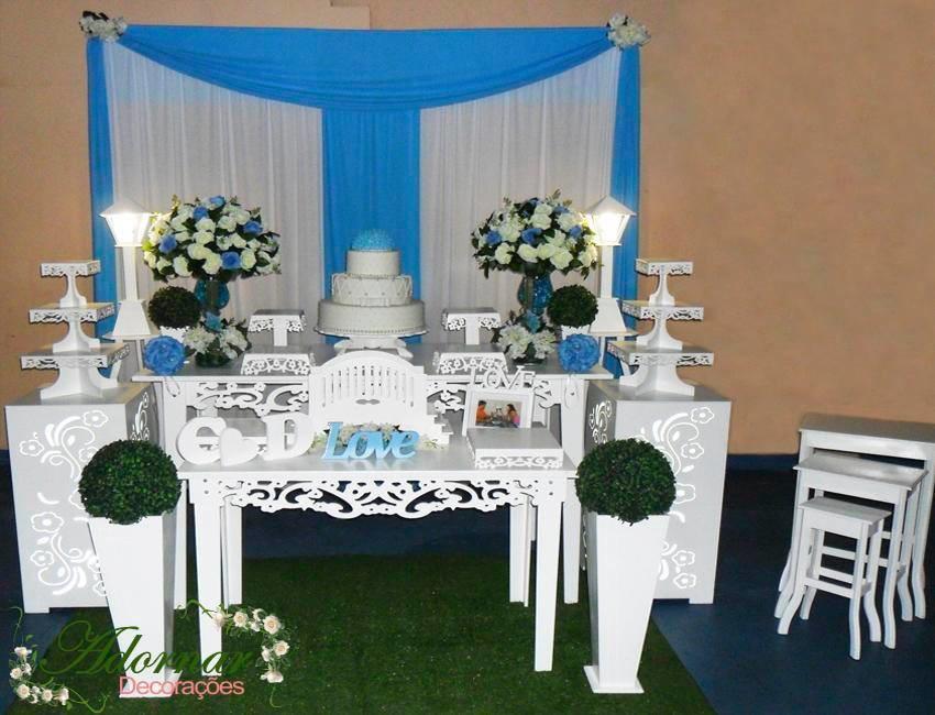 Decoraç u00e3o Casamento Azul Turquesa Branco Adornar Decorações Festas Elo7 -> Enfeites De Mesa Para Casamento Azul E Branco