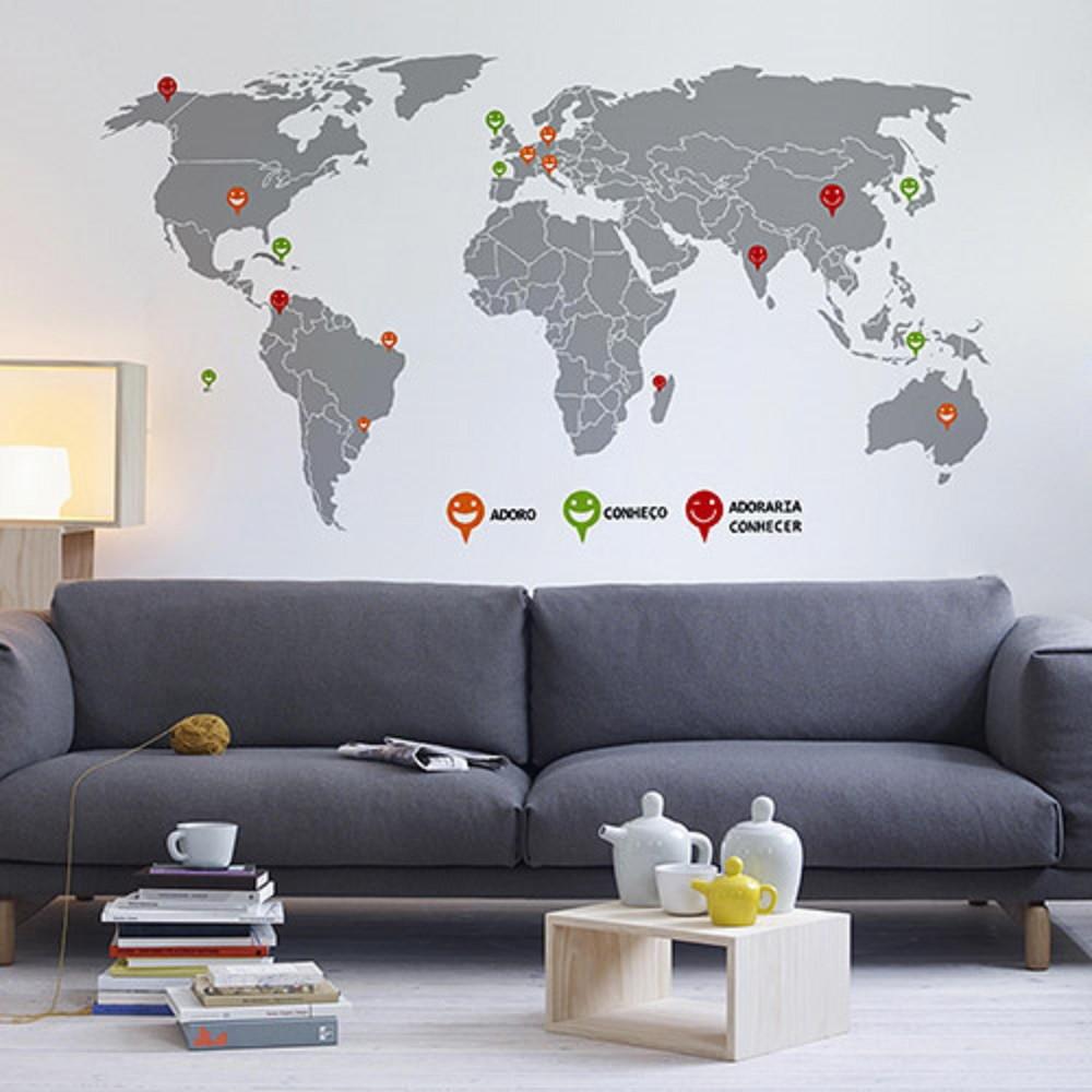 Adesivo Mapa Mundi  Mimmos Presentes e Decorao  Elo7