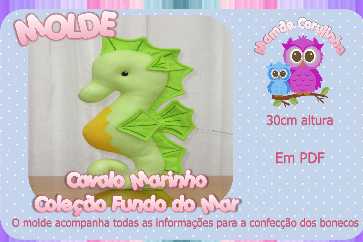 Molde Para Imprimir De Laco Lonita De Cilicone: Molde Cavalo Marinho - Fundo Do Mar No Elo7