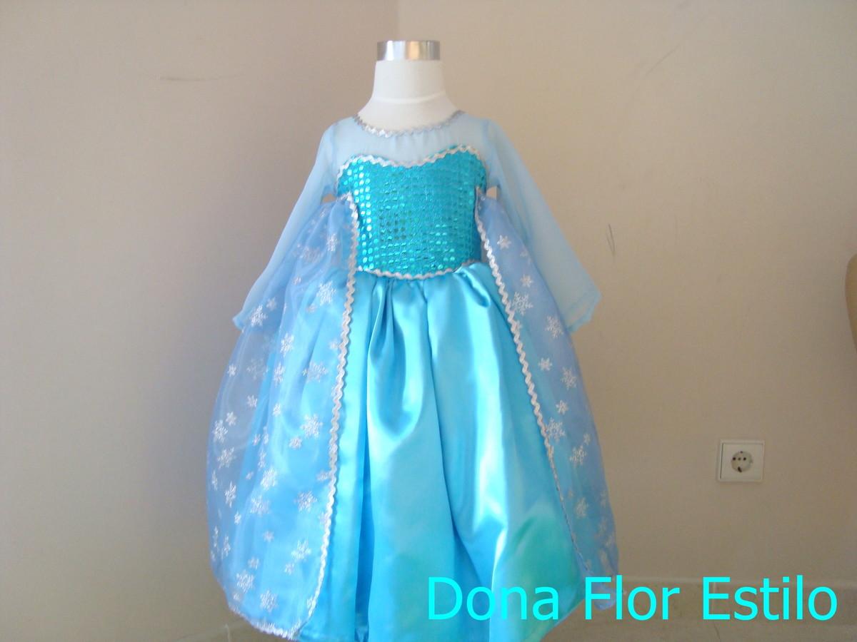Vestido Elsa Frozen Luxo