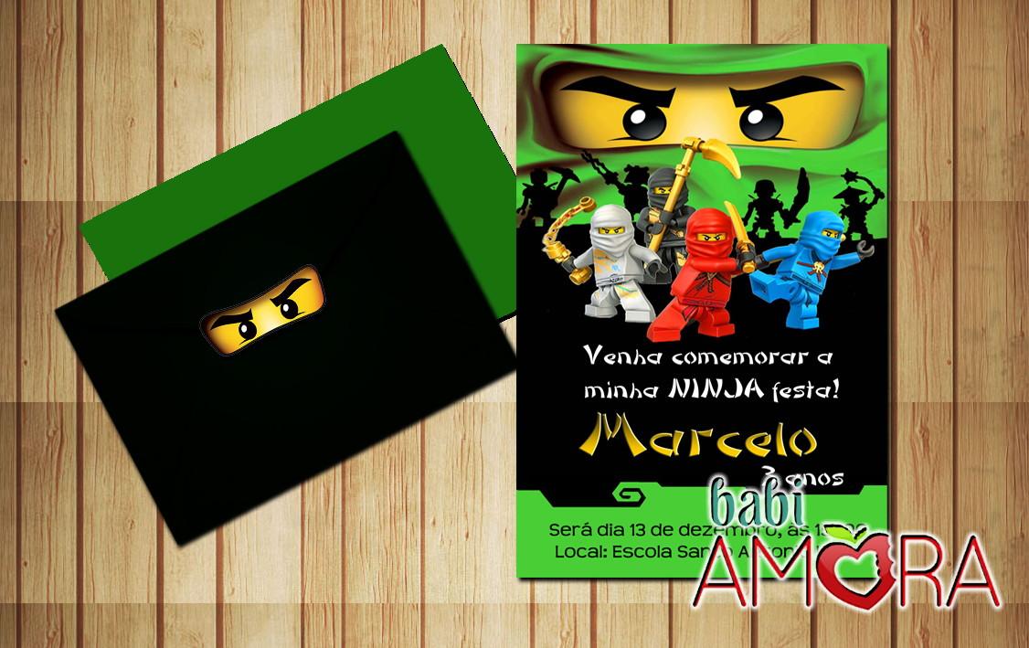 Convite Ninjago Verde No Elo7 Babi Amora 5da596