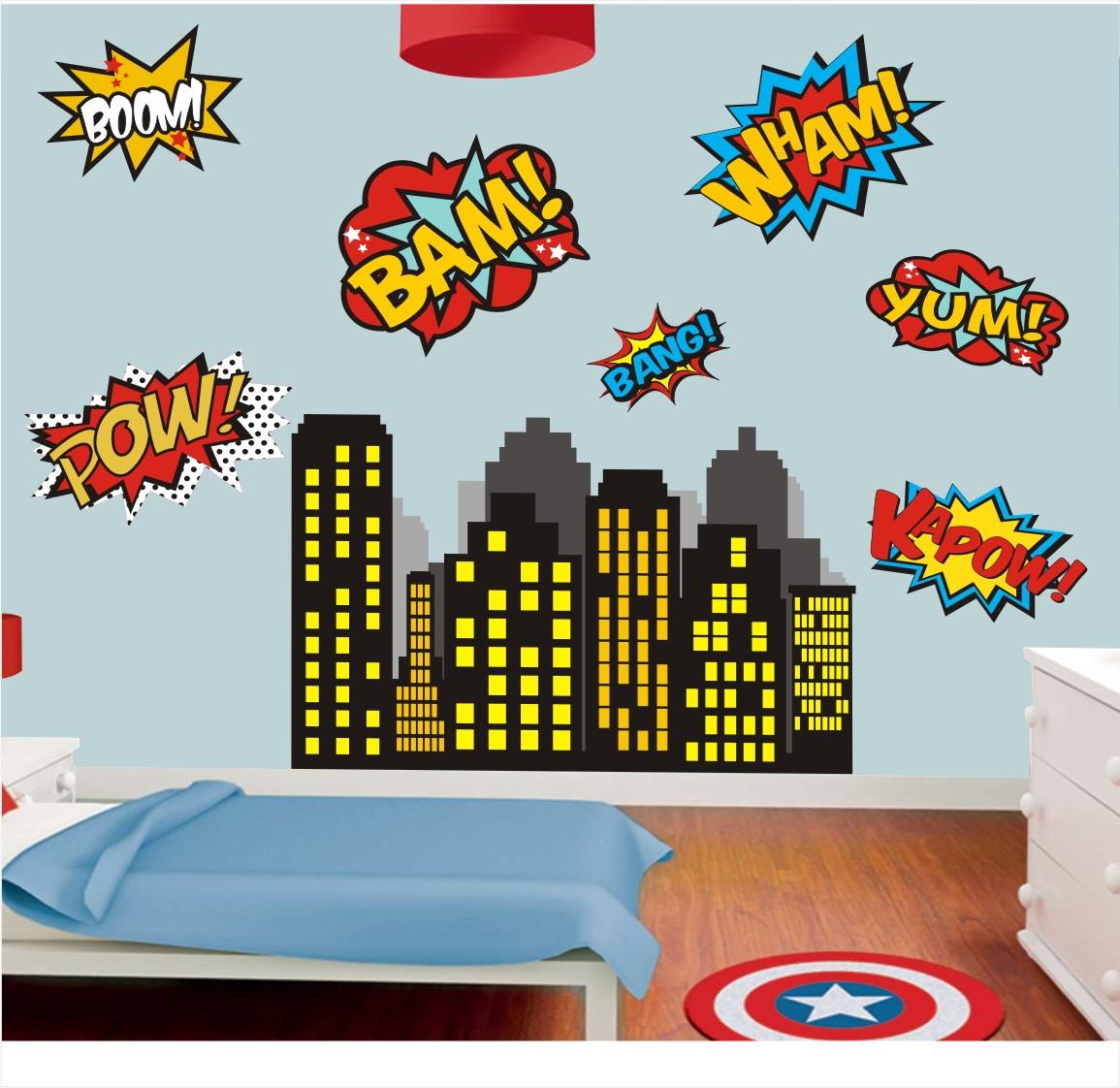 Aparador Para Sala De Estar Com Vidro ~ Adesivo Parede Herois Avengers Predio 05 QuartinhoDecorado Elo7