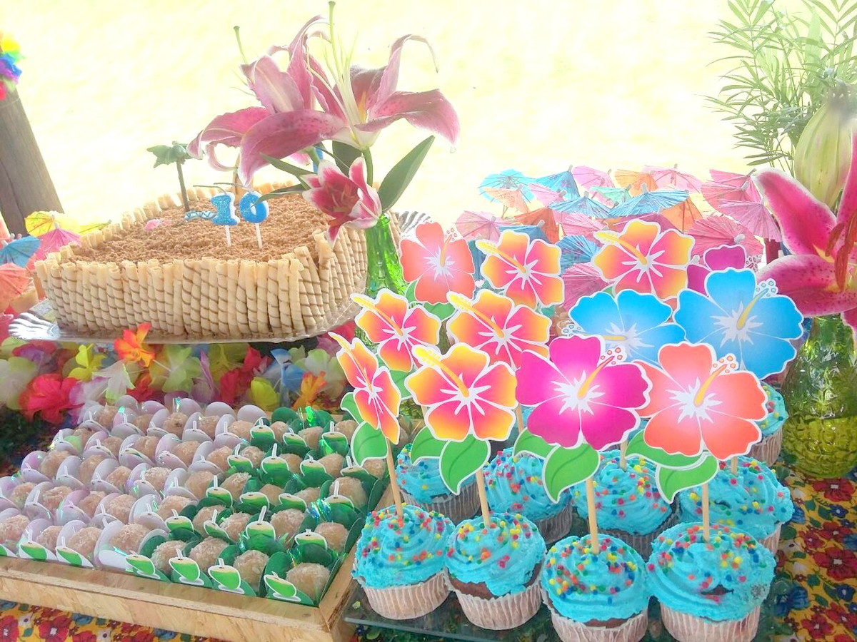Festa Hawaiana Topper Hibiscus no Elo7 Danoca Festa (5F2C6C) -> Decoração De Festa Havaiana Simples