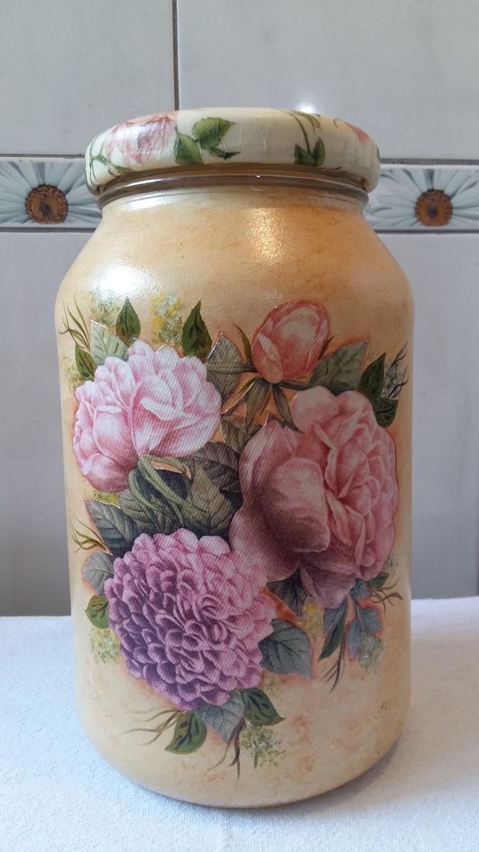 Pote decoupage floral artesanatos da amanda elo7 for Pintura para decoupage