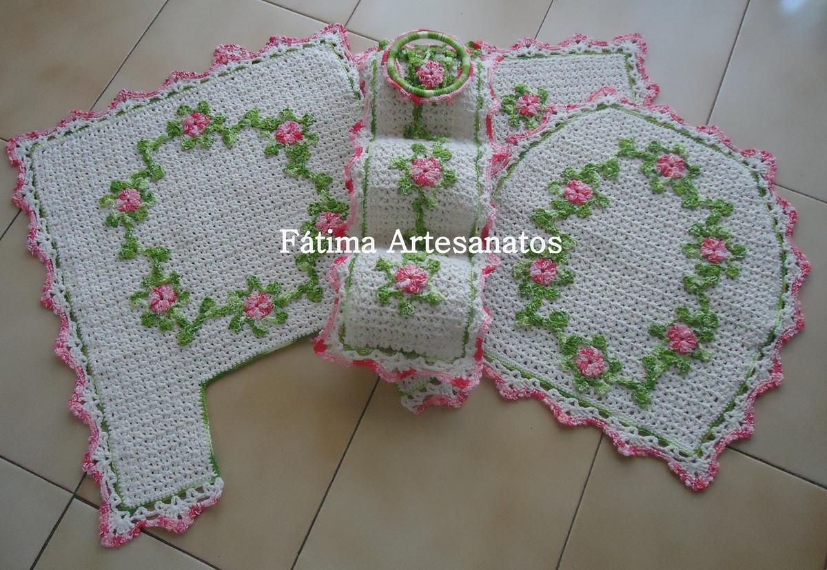 jogo de banheiro de crochê em barbante  Maria de Fátima Alvarenga  Elo7 -> Jogo De Banheiro Simples Em Croche Passo A Passo