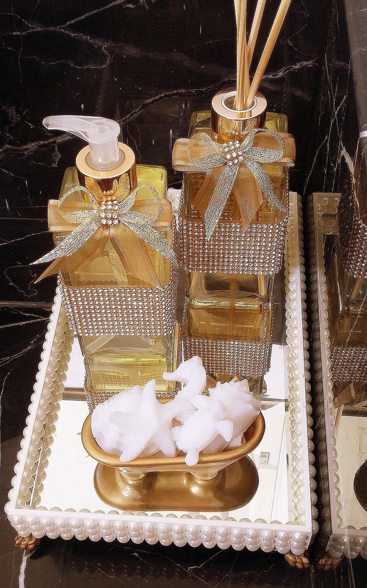 Kit Para Banheiro Decorado : Bandeja sabonete aromatizador no elo amanda kl?ppel