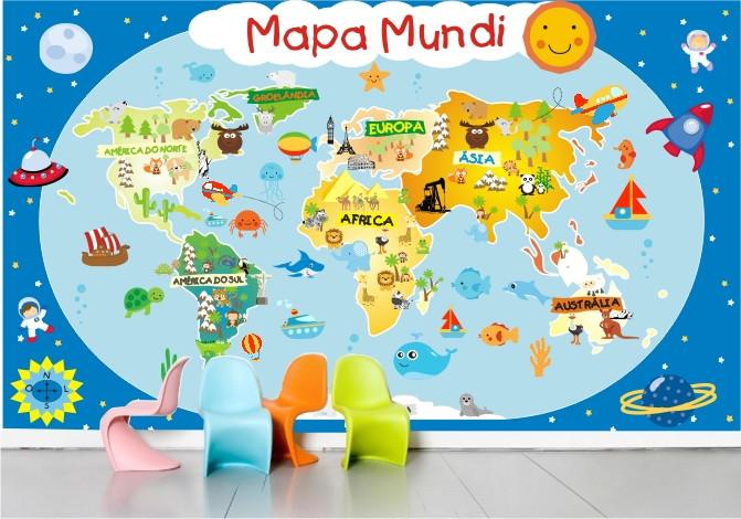 Papel parede infantil mapa gigante m04 no elo7 - Papel pared mapa mundi ...