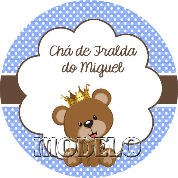Armario De Cozinha Em Ingles ~ Adesivo Redondo Ursinho Príncipe Personaliza Lembranças Elo7