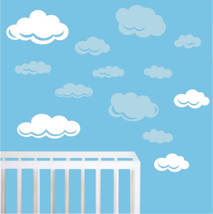 Aparador Barba E Corpo ~ adesivo nuvem nuvens quarto infantil m08 QuartinhoDecorado Elo7