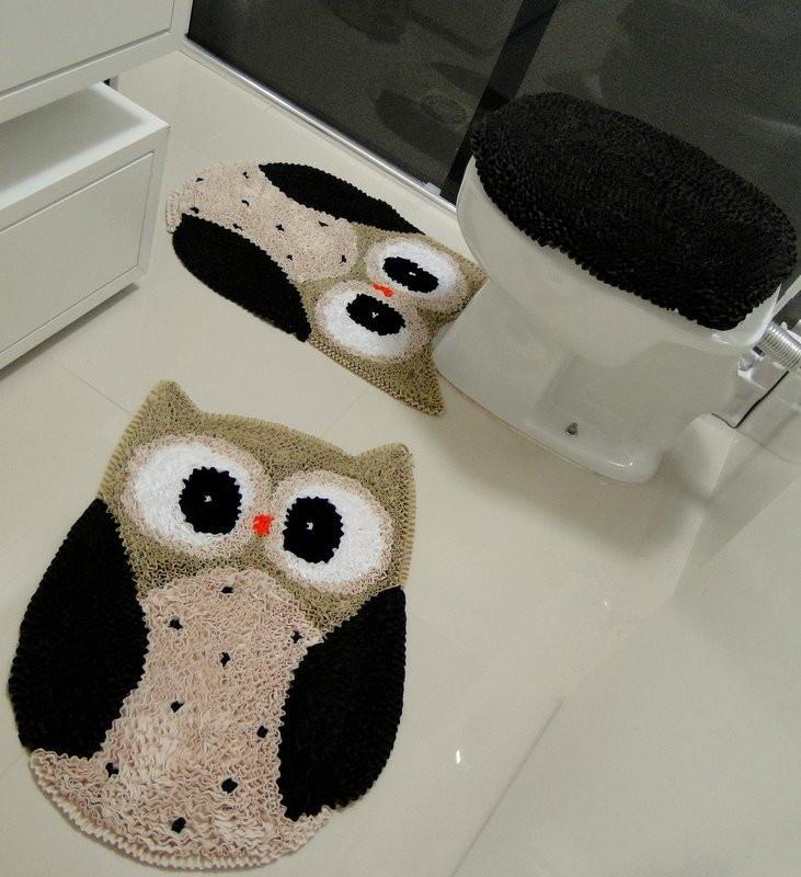 tapete frufru banheiro coruja  Tapete Shopia  Elo7 -> Decoracao Tapete Banheiro