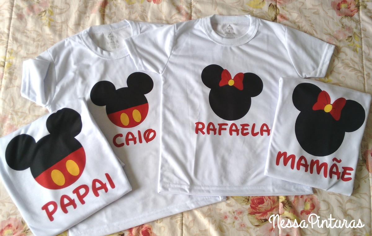 1feddc6d0f06 Kit 4 Camisetas Família Mickey e Minnie no Elo7   excluido_Nessa ...