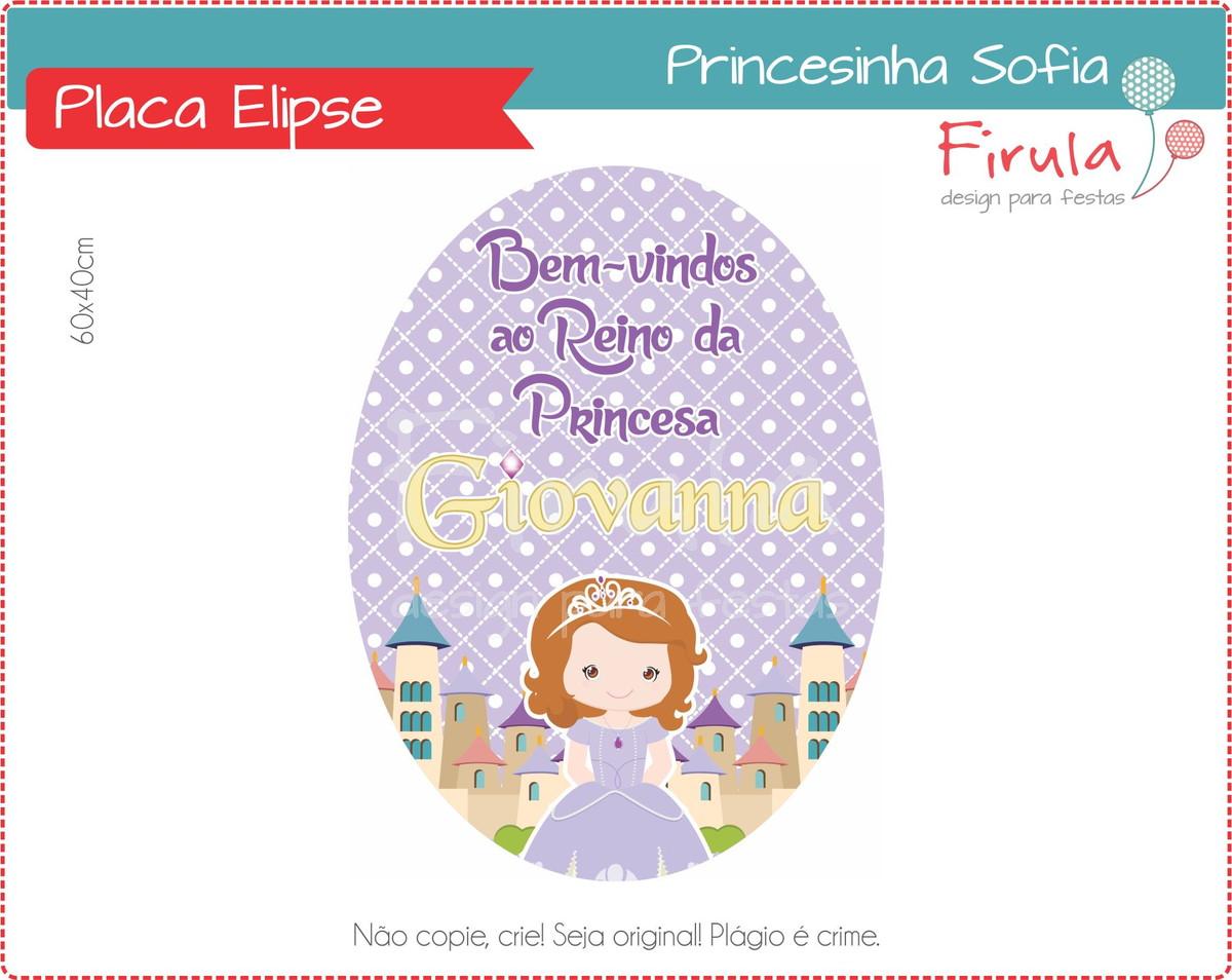Placa Elipse Digital Princesa Sofia no Elo7  bf5f1d4733b61