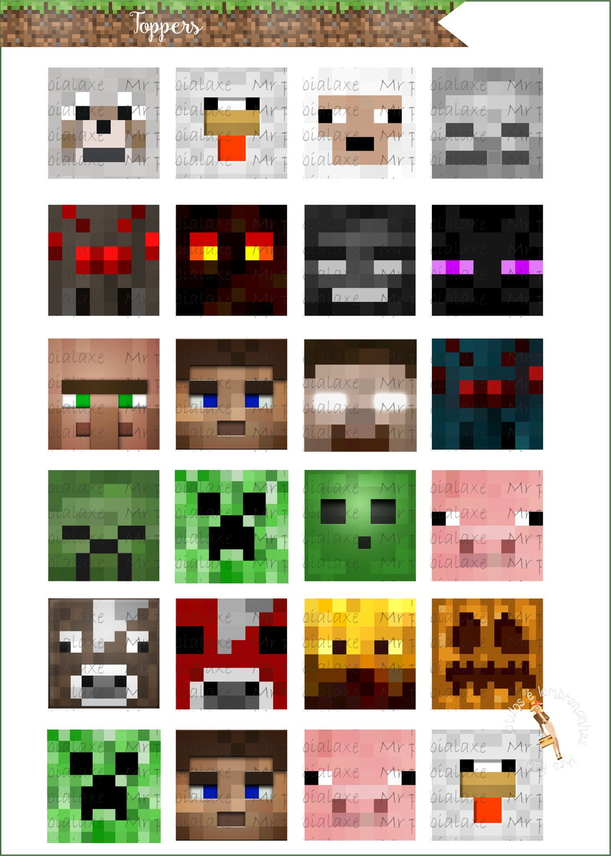 Toppers Minecraft No Elo7 Mrs Party Papelaria