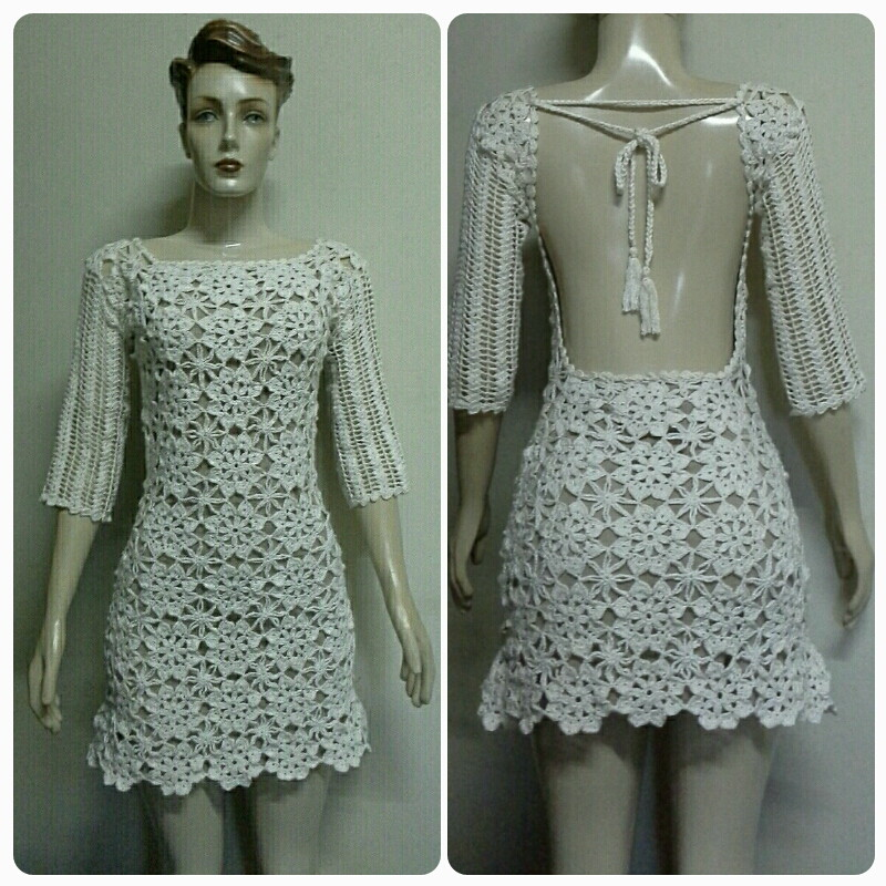 80957fd91 Vestido Crochet Curto c Costas no Elo7