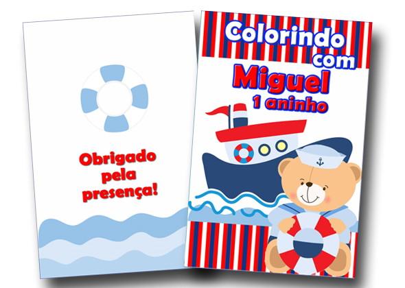 Revista Colorir Urso Marinheiro 14x10 No Elo7 Tudo De Festa