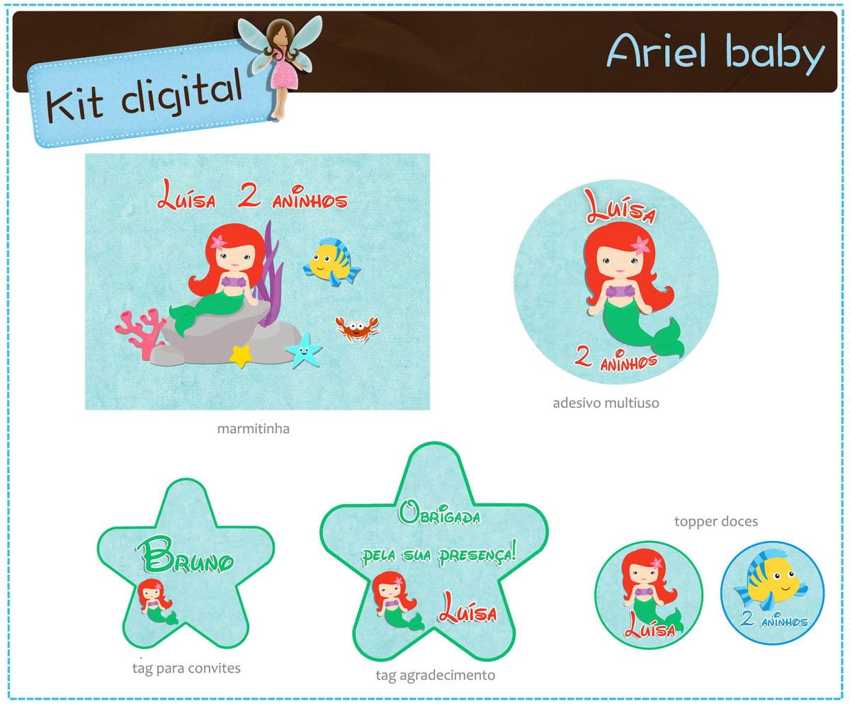Kit Digital Ariel Para Imprimir No Elo7 Atelier Doces Mimos