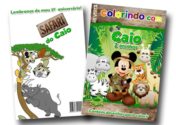 Revista Para Colorir Mickey Safari 14x10 No Elo7 Tudo De Festa