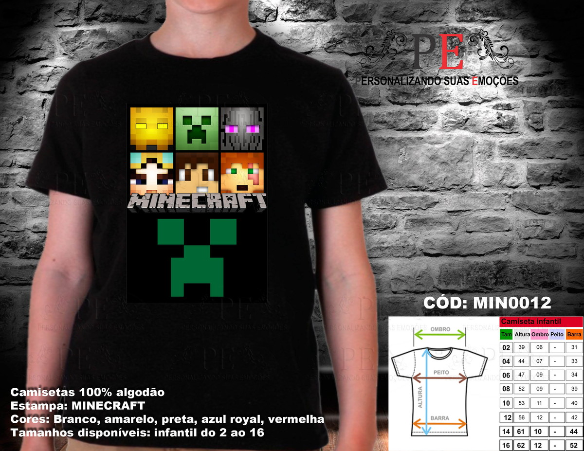 Camisetas Minecraft Faces 2 no Elo7  36b103fae39e4