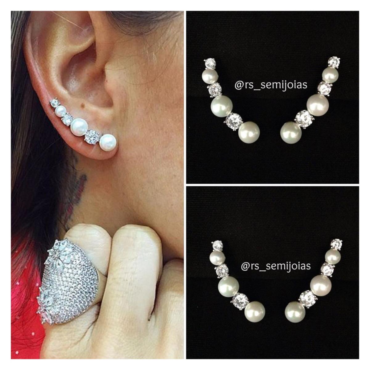brinco earcuff pérolas e pto luz no Elo7   RS semi jóias (5C1905) 263f027719