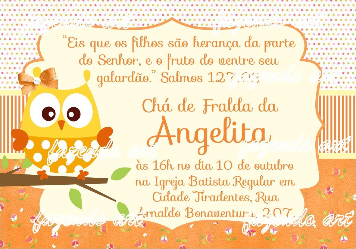 Mensagem De Apresentação De Bebe Na Igreja: Arte Digital Convite Chá De Bebê Coruja No Elo7