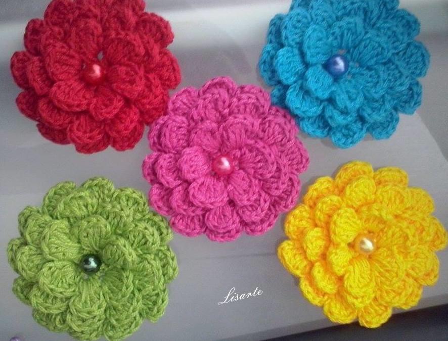 Adesivo De Alto Desempenho Para Argamassas ~ Flor de croche para aplique 7cm (cada) Lisarte Elo7