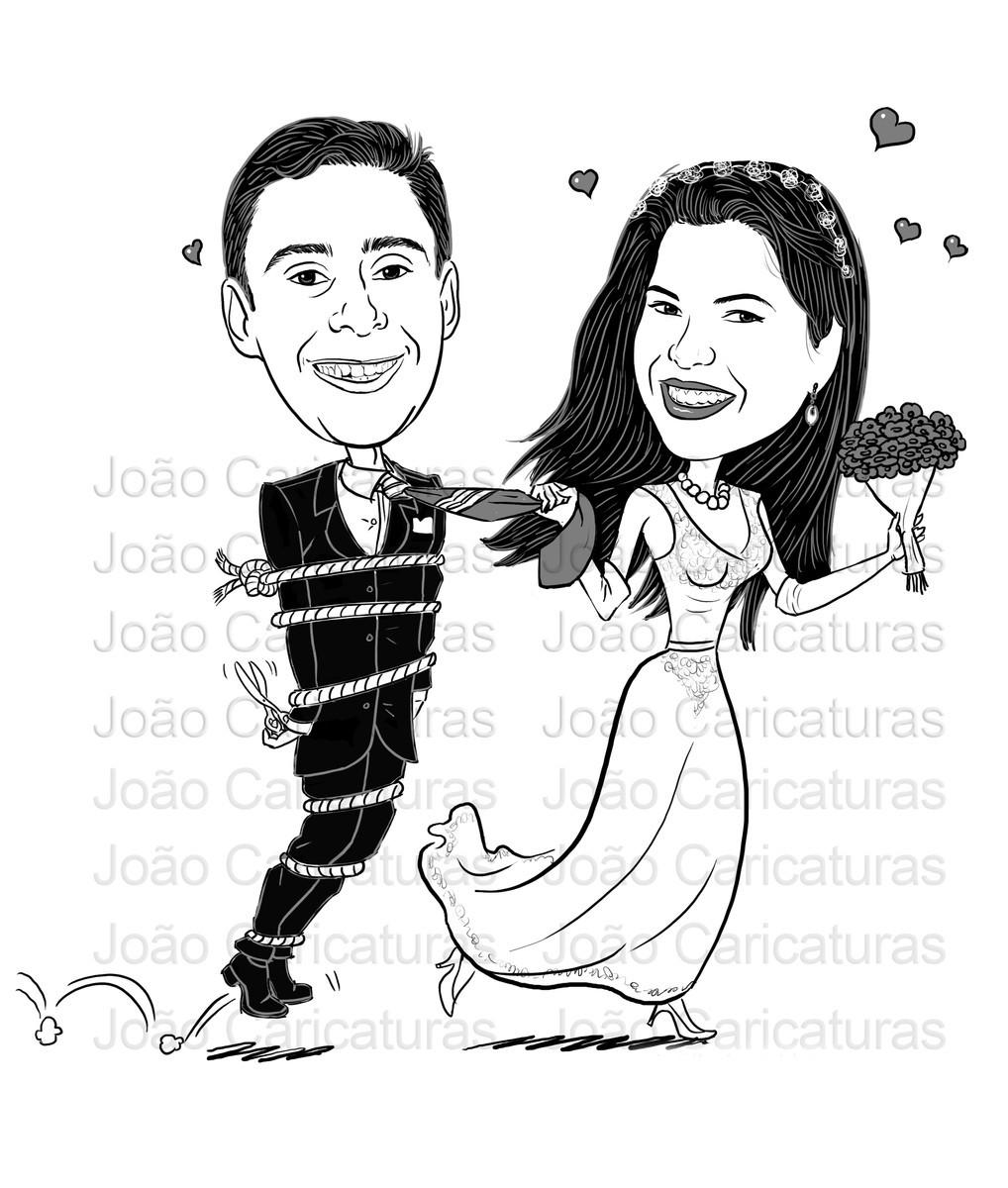 Lindas Caricaturas Casamento Casal Puxando O Noivo Gravata No Elo7