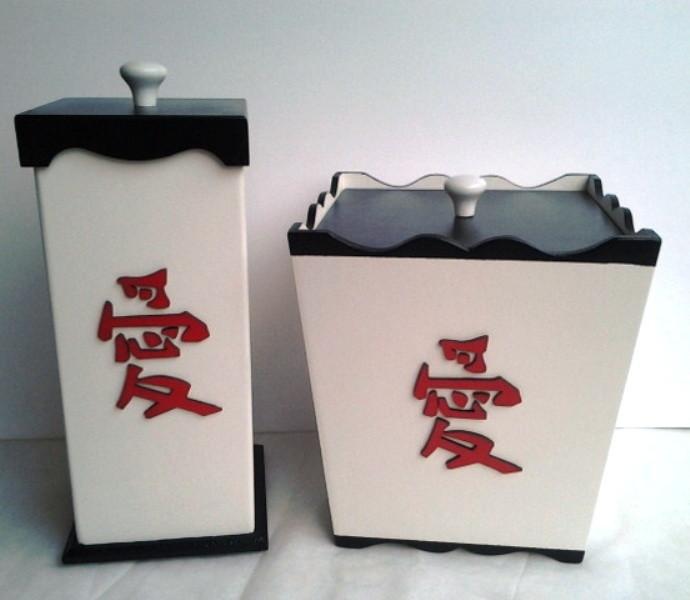 Adesivos De Parede Personalizados Sorocaba ~ Kit de banheiro lixeira e porta papel h Art Sol Artesanato Elo7