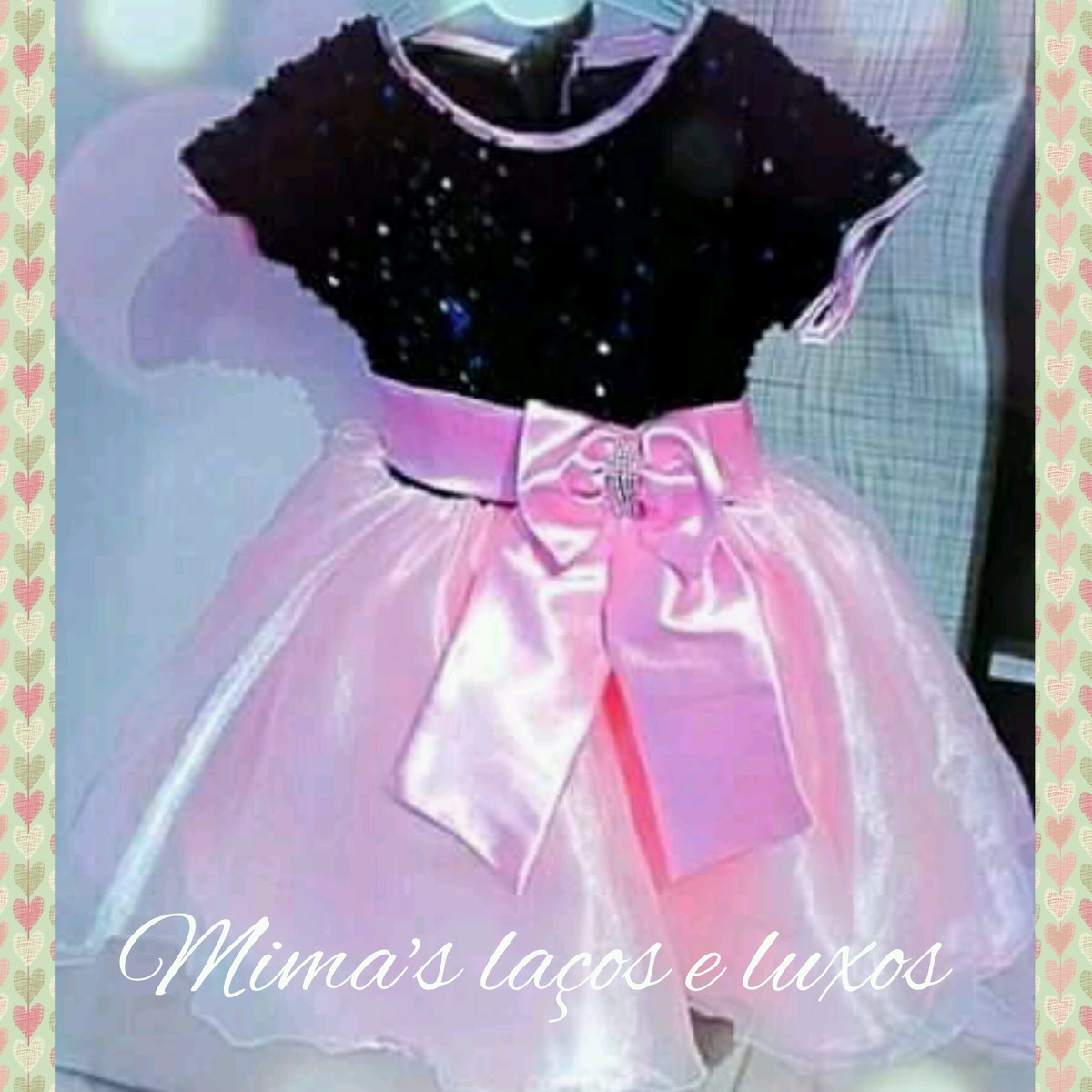 Foto de vestido rosa e preto